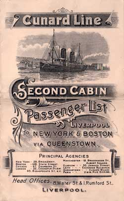 Passenger Manifest, Cunard Line RMS Etruria, 1904, Liverpool to New York
