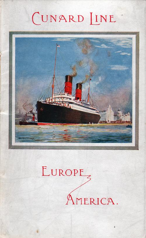Passenger List, R.M.S. Franconia, Cunard Line, August 1911, Liverpool to Boston