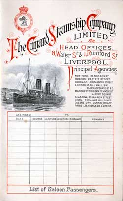 Passenger List, Cunard Line R.M.S. Ivernia, 1901, Liverpool to Boston