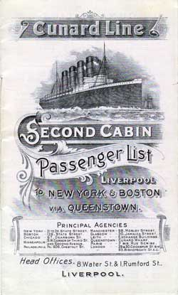 Passenger Manifest, Cunard Line Ivernia 1909 Liverpool To Boston