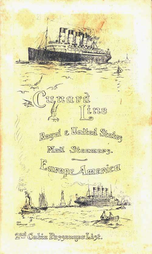 Front Cover, Passenger List, R.M.S. Laconia, Cunard Line, October 1912