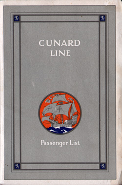Passenger Manifest, RMS Laconia, Cunard Line, August 1928