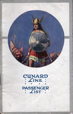 Front Cover, Passenger List, August 1922, R.M.S. Laconia, Cunard Line, Liverpool to New York