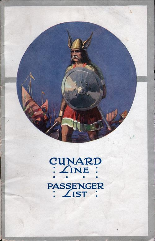 Front Cover, Passenger List, August 1922, RMS Laconia, Cunard Line, Liverpool to New York
