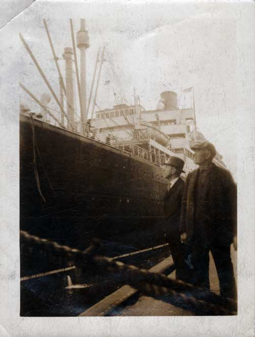 George W. Sweet Viewing Automobile being Loaded into Cargo Hold of S.S. Laconia II