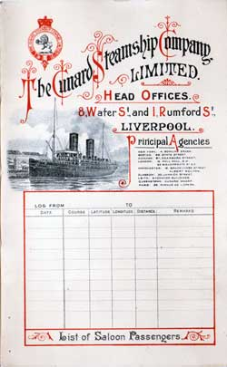 1899-06-17 Ships List for the R.M.S. Lucania