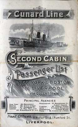 1900-09-22 Passenger Manifest for the S.S. Lucania