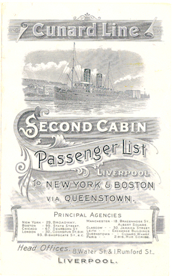 1902 Passenger Manifest for the Cover - Cunard Line Lucania