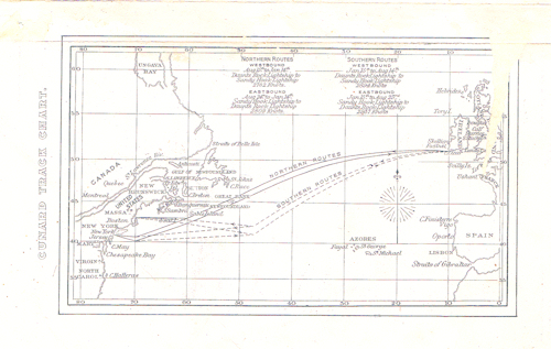 Track Chart for Voyage from Liverpool To New York