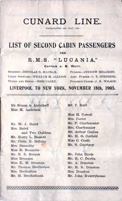 Passenger Manifest, Cunard Line R.M.S. Lucania, 1905, Liverpool to New York