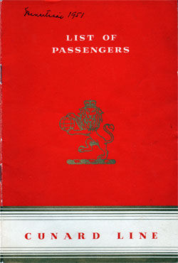 Front Cover of 1951 Passenger Manifest for the Cunard R.M.S. Mauretania