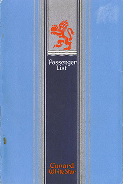 1947-09-25 Passenger Manifest for the RMS Media