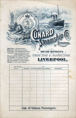 Passenger List, R.M.S. Pannonia, Cunard Line, August 1905, Trieste to New York