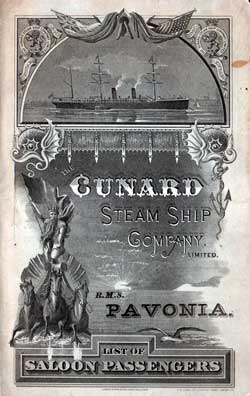 1887 Saloon Ships List from the R.M.S. Pavonia of the Cunard Line