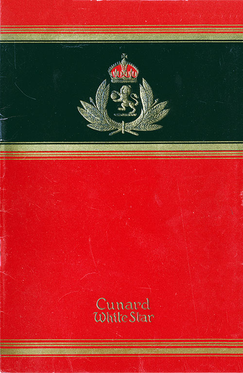 Front Cover, Passenger List, Cunard Line RMS Queen Elizabeth, 13 February 1947