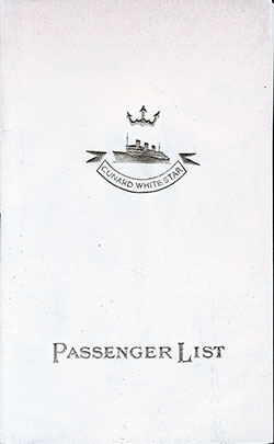 1939-07-12 Ships List for the R.M.S. Queen Mary