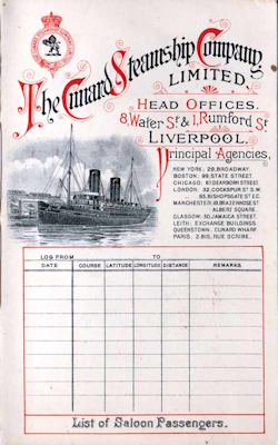 1902-09-16 Ships List from the R.M.S. Saxonia