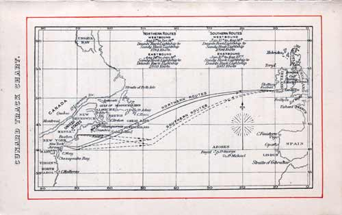 Track Chart for Cunard Line Saxonia Voyage from Liverpool to Boston