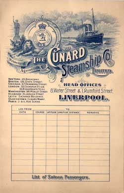 Passenger List, Cunard Line R.M.S. Saxonia, 1904, Liverpool to Boston