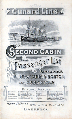 1907 Passenger Manifest Cover, Cunard Line Saxonia