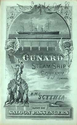 1888-08-30 Ships List from the R.M.S. Scythia