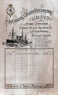 1891-10-03 Ships List for the R.M.S. Umbria