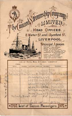 List of Saloon Passengers aboard the Cunard Line Steamship Umbria 1893