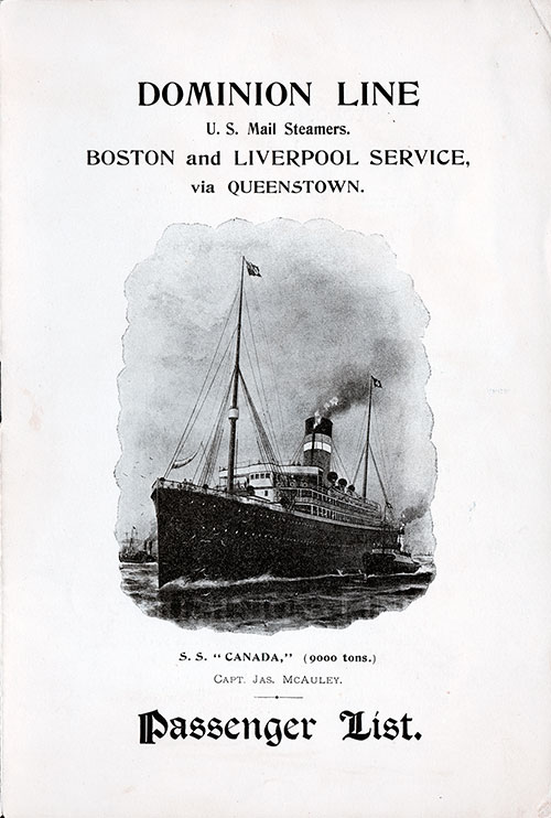Front Cover - Passenger List, S.S. Canada, Dominion Line, January 1898 Boston to Liverpool