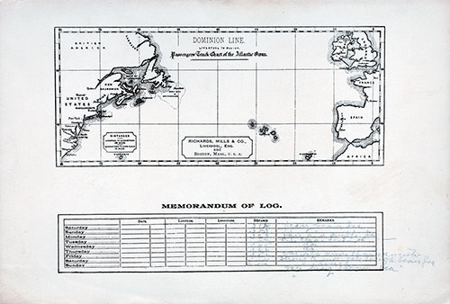 Track Chart - Passenger List, S.S. Canada, Dominion Line, January 1898 Boston to Liverpool
