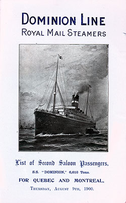 1900-08-09 Passenger Manifest for the S.S. Dominion