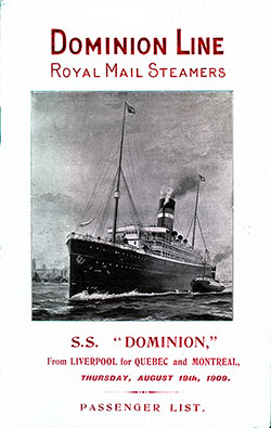 1909-08-19 Passenger Manifest for the S.S. Dominion