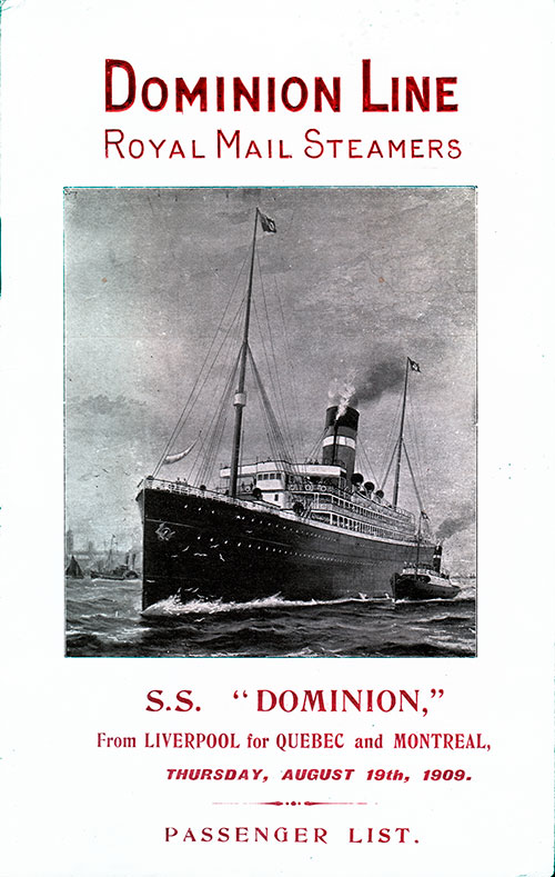 Front Cover - 19 August 1909 Passenger List, SS Dominion, Dominion Line