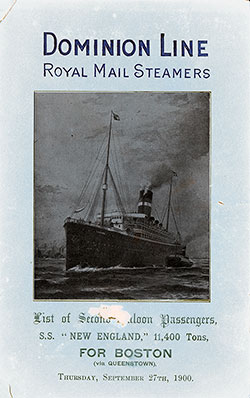 1900-09-27 Ships List for the S.S. New England
