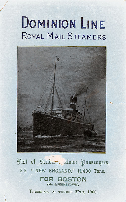 Front Cover - 27 September 1900 Passenger List, S.S. New England, Dominion Line