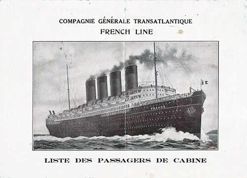 Front Cover, 15 April 1919 Passenger List, SS Chicago, CGT French Line