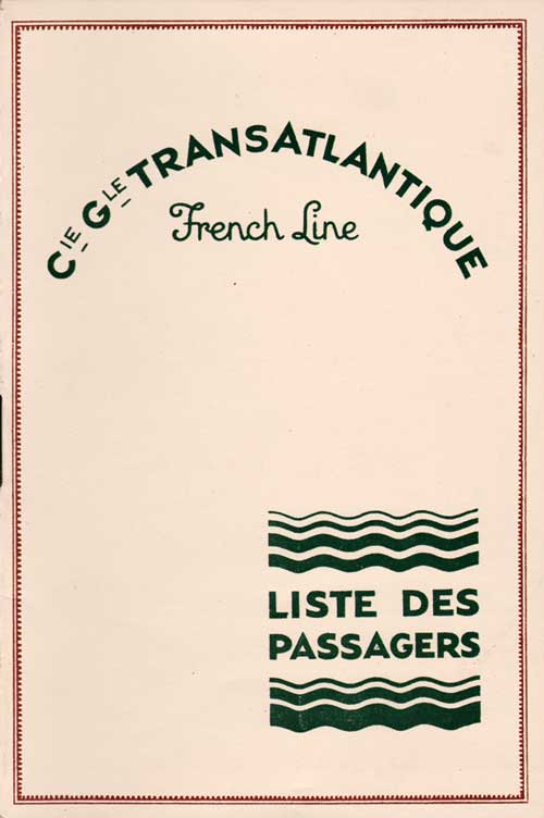 Front Cover, Passenger List, CGT French Line, S.S. De Grasse, 6 June 1929
