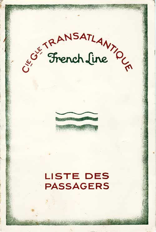 Front Cover, Passenger List, S.S. De Grasse, CGT French Line, 4 July 1929