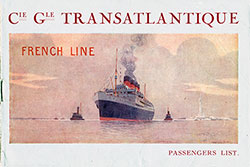 1921-10-03 Ships List for the S.S. France