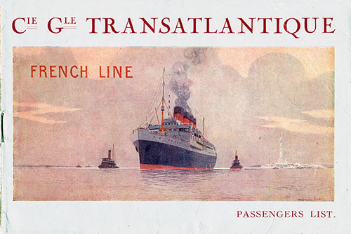 Front Cover, Passenger List, CGT French Line, S.S. France, 3 October 1921