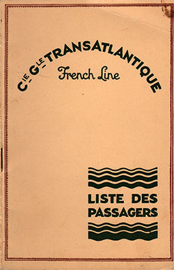 1931-05-29 Ships List for the S.S. France