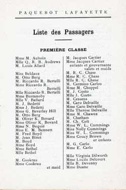 List of First Class Passengers, Page 1