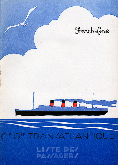 Front Cover - Passenger List, French Line, S.S. Lafayette, 17 June 1936