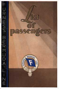 Front Cover - 17 October 1931 Passenger List, T.S.S. Franconia, Furness Berbuda Line