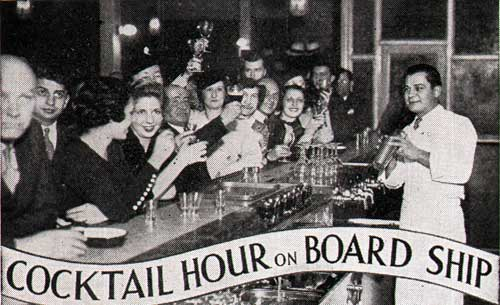 Cocktail Hour on the S.S. Monarch of Bermuda of the Furness Bermuda Line