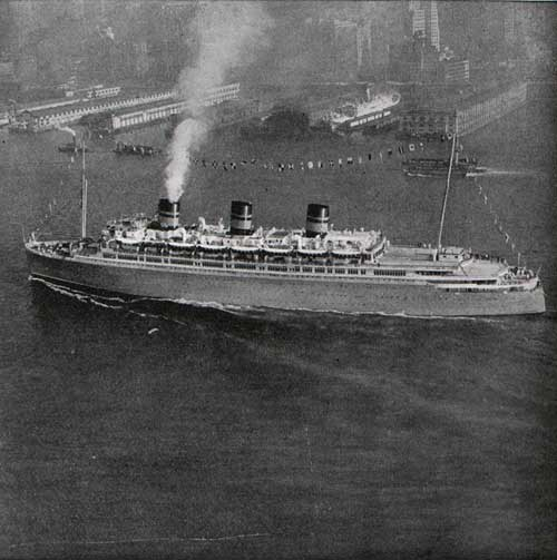 "An unusual view of the ""S.S. MONARCH OF BERMUDA"" entering New York harbor."