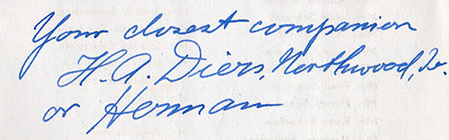 Inscription from Herman Diers