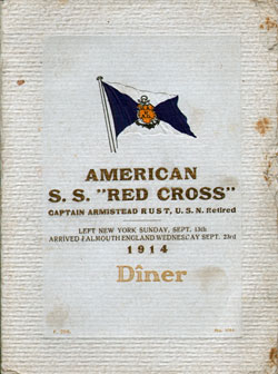 1914-09-13 Passenger Manifest for the SS Red Cross