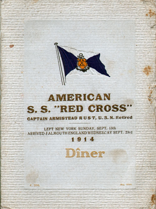 Front Cover, Passenger List, Hamburg-American Line, S.S. Red Cross, 13 September 1914