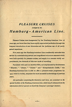 Pleasure Cruises arranged by the Hamburg - American Line (1907)