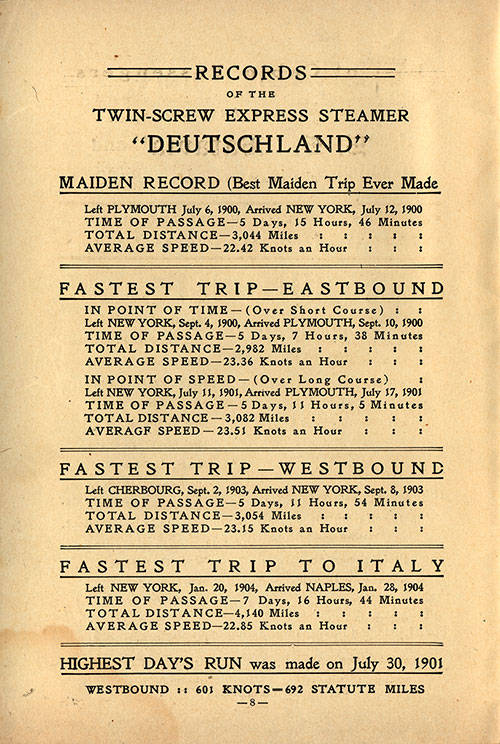 "Records of the Twin-Screw Express Steamer ""Deutschland"""
